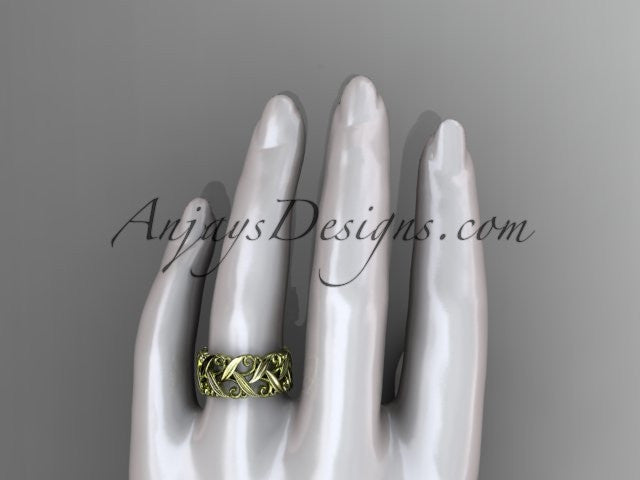 14kt yellow gold diamond leaf and vine wedding ring, engagement ring, wedding band ADLR49 - AnjaysDesigns