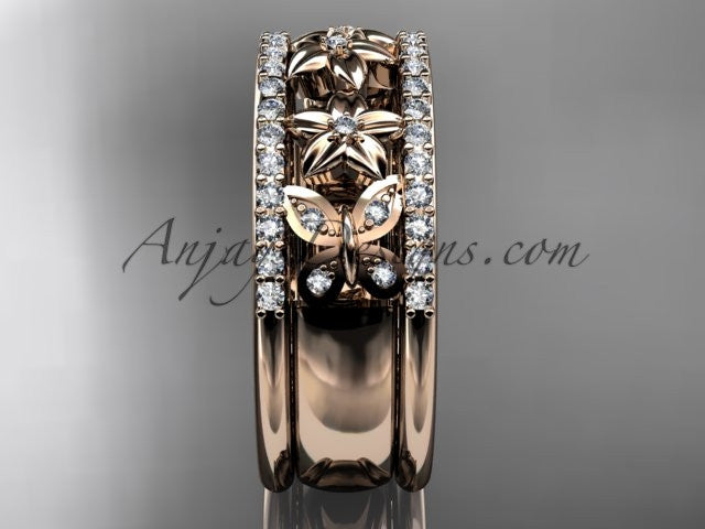 14kt rose gold diamond engagement ring, butterfly engagement ring, flower wedding band ADLR500B - AnjaysDesigns