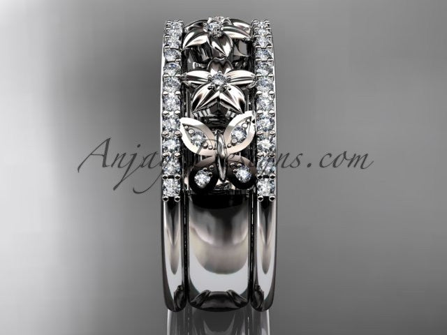 14kt white gold diamond engagement ring, butterfly engagement ring, flower wedding band ADLR500B - AnjaysDesigns