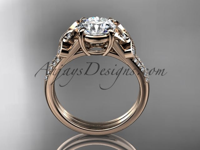 "14kt rose gold diamond unique engagement ring, butterfly ring, wedding ring with a ""Forever One"" Moissanite center stone ADLR514 - AnjaysDesigns"
