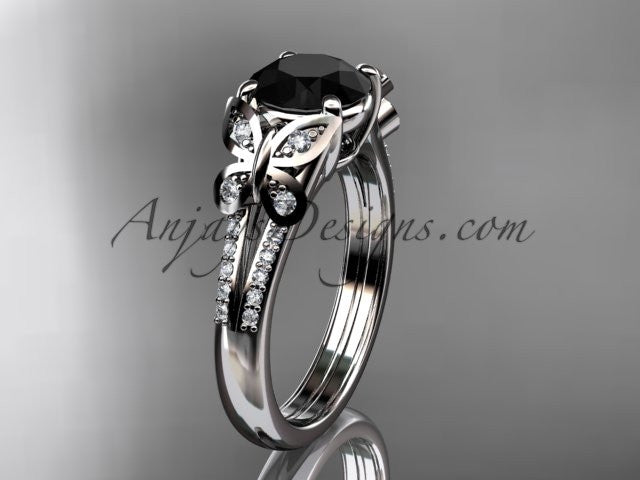 14kt white gold diamond unique engagement ring, butterfly ring, wedding ring with a Black Diamond center stone ADLR514 - AnjaysDesigns