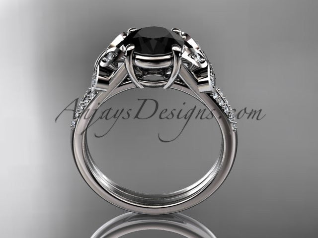 platinum diamond unique engagement ring, butterfly ring, wedding ring with a Black Diamond center stone ADLR514 - AnjaysDesigns