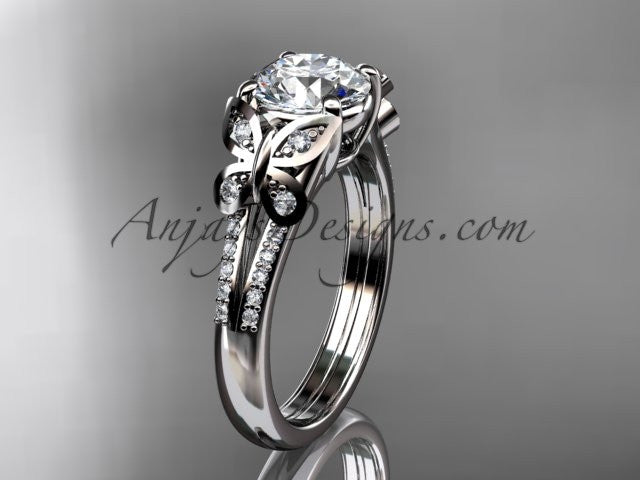 14kt white gold diamond unique engagement ring, butterfly ring, wedding ring ADLR514 - AnjaysDesigns