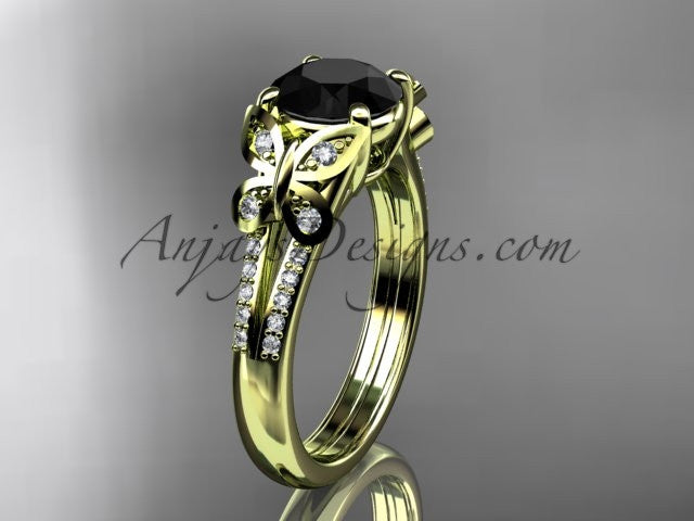 14kt yellow gold diamond unique engagement ring, butterfly ring, wedding ring with a Black Diamond center stone ADLR514 - AnjaysDesigns