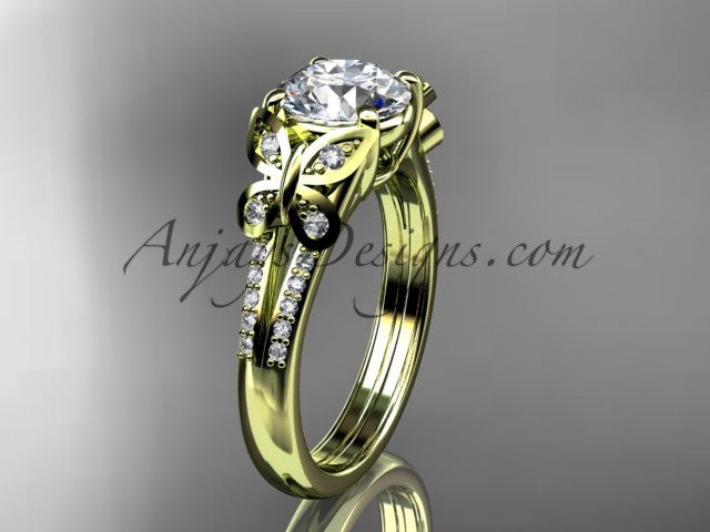 "14kt yellow gold diamond unique engagement ring, butterfly ring, wedding ring with a ""Forever One"" Moissanite center stone ADLR514 - AnjaysDesigns"