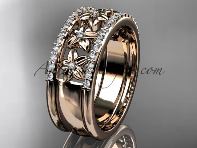 14kt rose gold engagement ring, flower wedding band ADLR516B - AnjaysDesigns