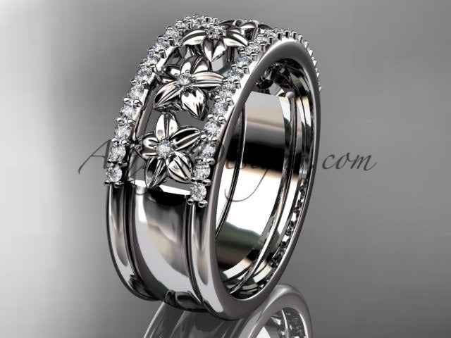 platinum engagement ring, flower wedding band ADLR516B - AnjaysDesigns
