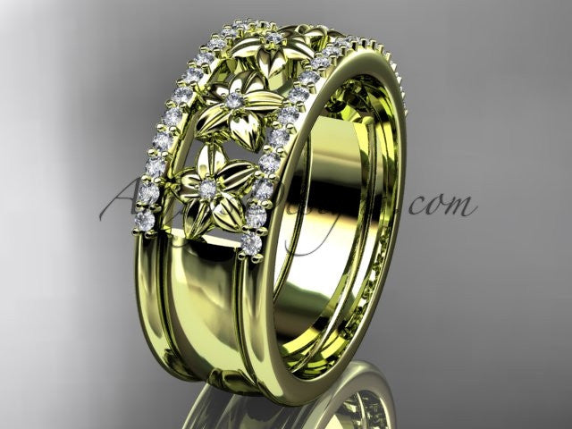 14kt yellow gold engagement ring, flower wedding band ADLR516B - AnjaysDesigns