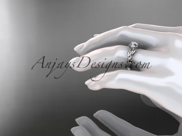 14kt white gold diamond leaf and vine wedding ring, engagement ring ADLR58 - AnjaysDesigns