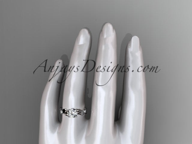 platinum diamond leaf and vine wedding ring,engagement ring ADLR58 - AnjaysDesigns