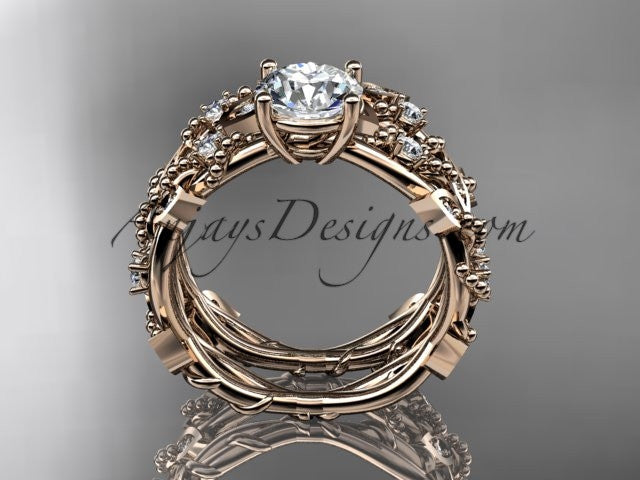 14k rose gold diamond leaf and vine wedding ring, engagement set ADLR59S - AnjaysDesigns, Engagement Sets - Jewelry, Anjays Designs - AnjaysDesigns, AnjaysDesigns - AnjaysDesigns.co,