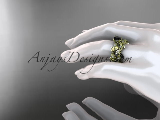 14k yellow gold diamond leaf and vine wedding ring, engagement set with Black Diamond center stone ADLR59S - AnjaysDesigns