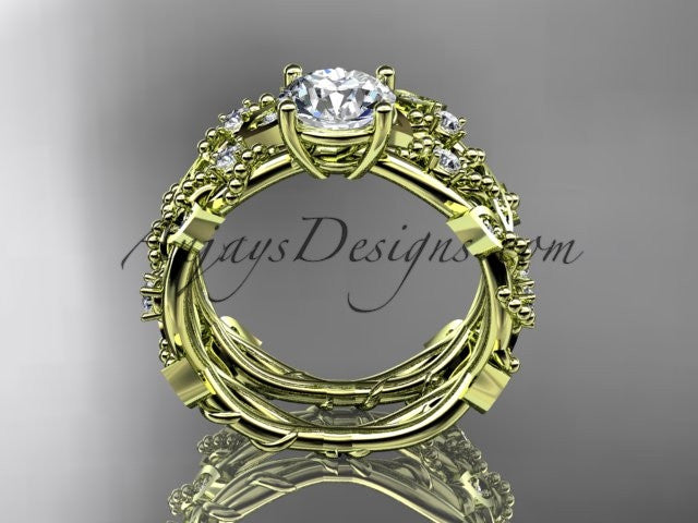 14k yellow gold diamond leaf and vine wedding ring, engagement set ADLR59S - AnjaysDesigns