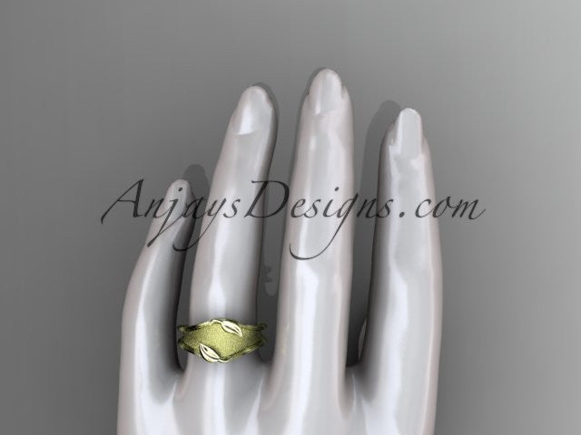 14kt yellow gold leaf and vine wedding ring, engagement ring, wedding band ADLR60 - AnjaysDesigns