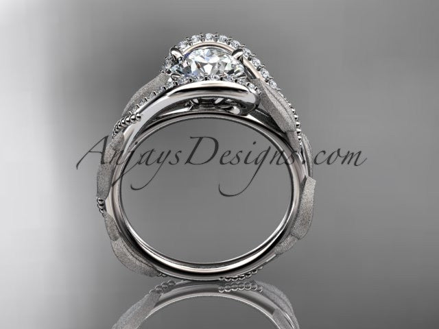 platinum diamond leaf and vine wedding ring, engagement ring ADLR64 - AnjaysDesigns