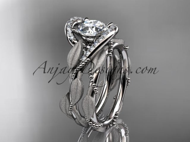 14kt white gold diamond leaf and vine wedding ring, engagement set ADLR64S - AnjaysDesigns