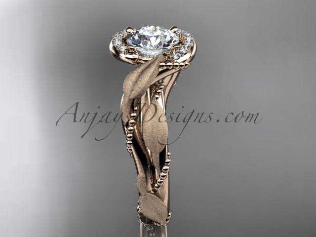14kt rose gold diamond leaf and vine wedding ring, engagement ring ADLR65 - AnjaysDesigns