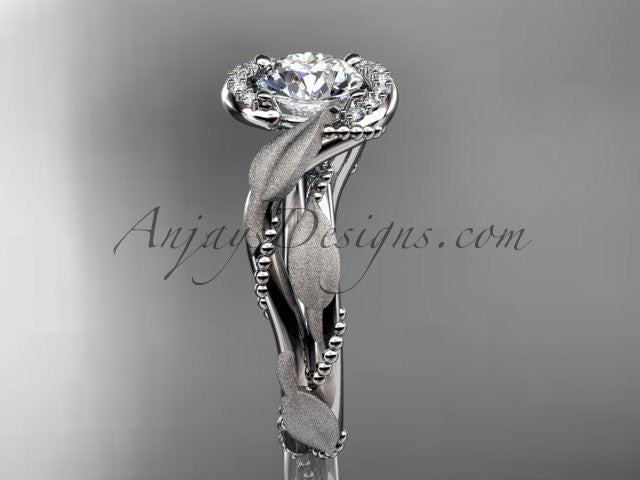 platinum diamond leaf and vine wedding ring, engagement ring ADLR65 - AnjaysDesigns