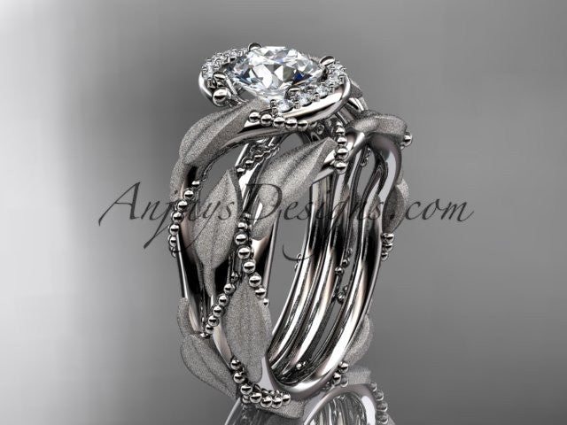 14kt white gold diamond leaf and vine wedding ring, engagement set ADLR65S - AnjaysDesigns