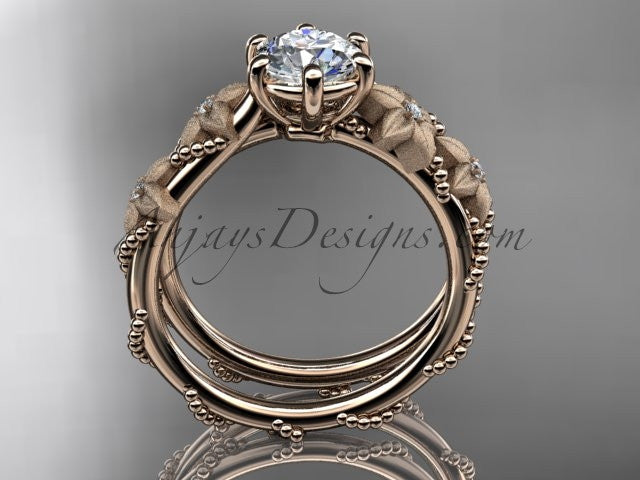 14kt rose  gold diamond floral, leaf and vine wedding ring, engagement ring ADLR66 - AnjaysDesigns