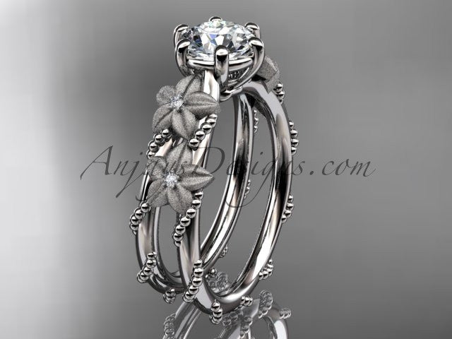 Platinum diamond floral, leaf and vine wedding ring, engagement ring ADLR66 - AnjaysDesigns