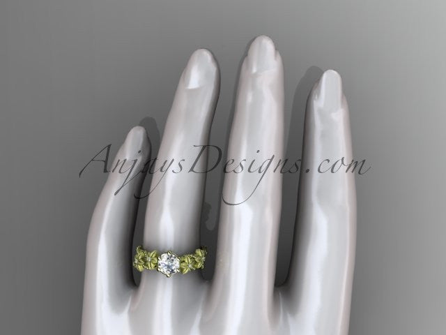 14kt yellow  gold diamond floral, leaf and vine wedding ring, engagement ring ADLR66 - AnjaysDesigns