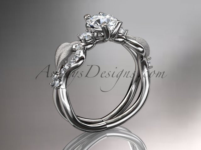 14kt white gold diamond leaf and vine wedding ring, engagement ring, wedding band ADLR68 - AnjaysDesigns