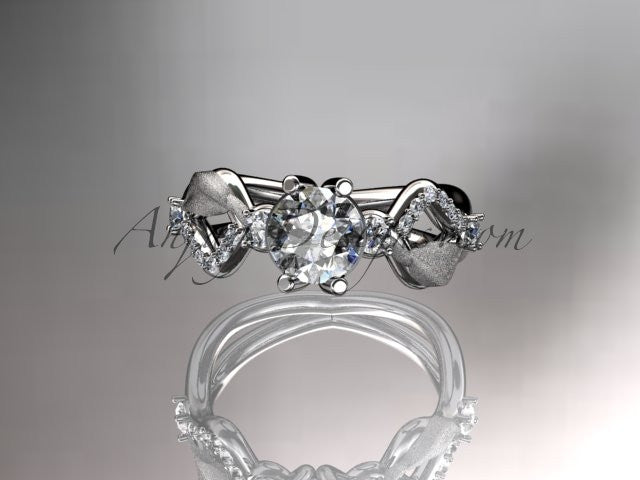 platinum diamond leaf and vine wedding ring, engagement ring, wedding band ADLR68 - AnjaysDesigns