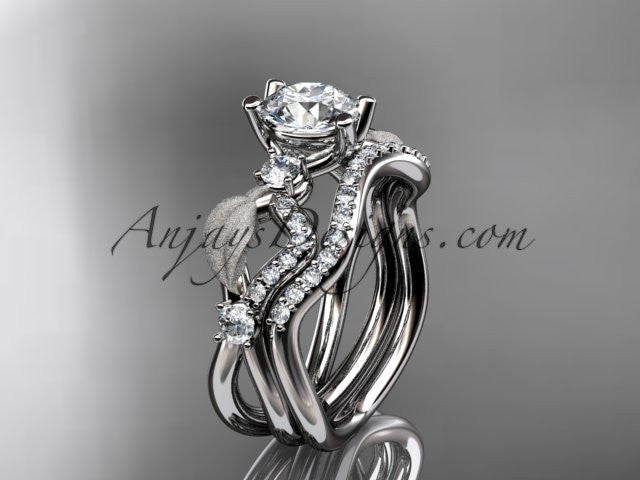 14kt white gold diamond leaf and vine wedding ring, engagement set ADLR68S - AnjaysDesigns