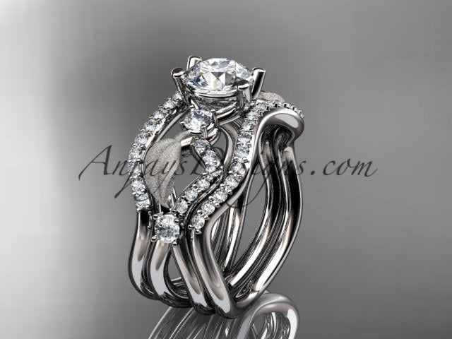 14kt white gold diamond leaf and vine wedding ring, engagement ring with double matching band ADLR68S - AnjaysDesigns