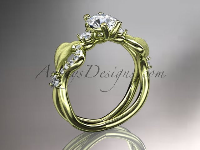 14kt yellow gold diamond leaf and vine wedding ring, engagement ring, wedding band ADLR68 - AnjaysDesigns