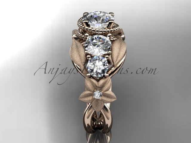 14kt rose gold diamond floral, leaf and vine wedding ring, engagement ring ADLR69 - AnjaysDesigns
