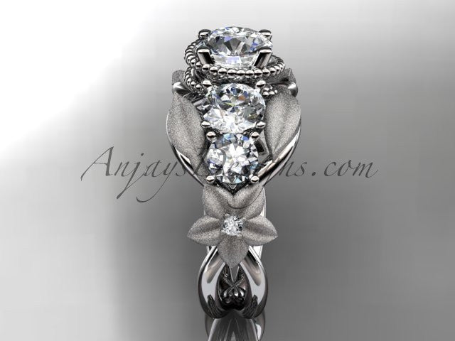 14kt white gold diamond floral, leaf and vine wedding ring, engagement ring ADLR69 - AnjaysDesigns