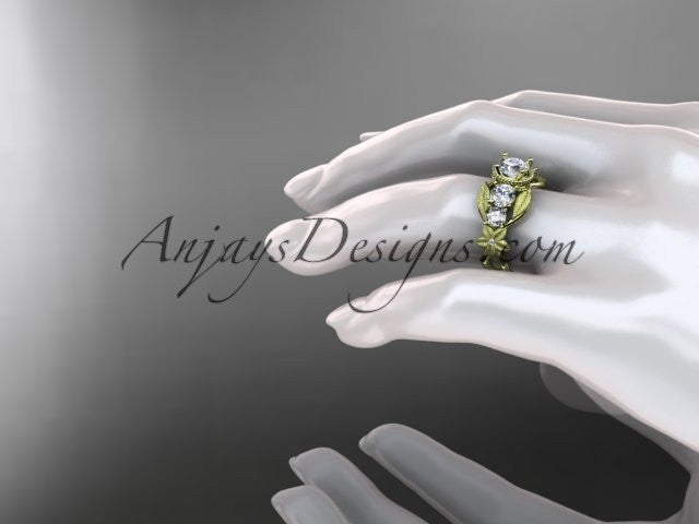 14kt yellow gold diamond floral, leaf and vine wedding ring, engagement ring ADLR69 - AnjaysDesigns