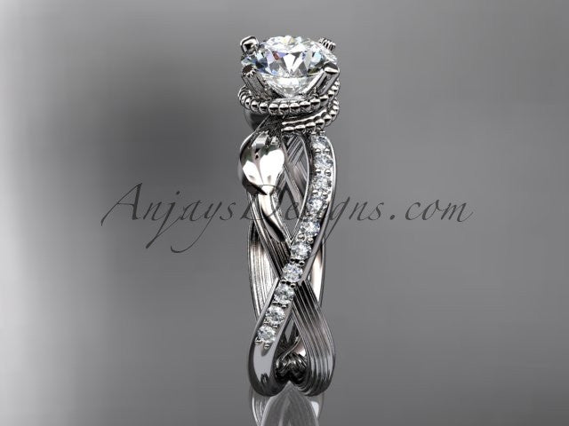 platinum diamond leaf and vine wedding ring, engagement ring ADLR70 - AnjaysDesigns
