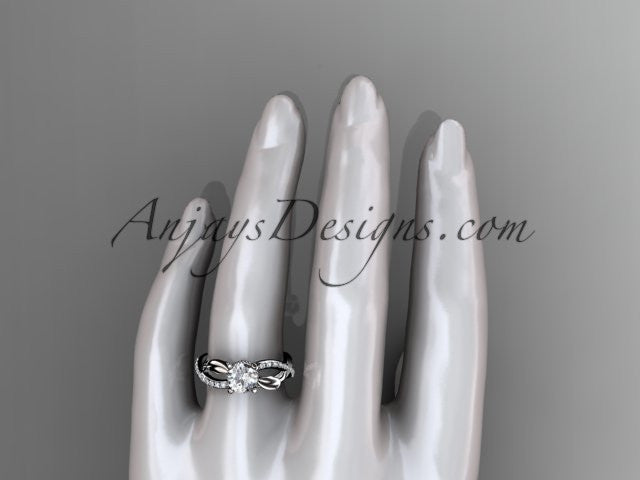 14kt white gold diamond leaf and vine wedding ring, engagement ring ADLR70 - AnjaysDesigns