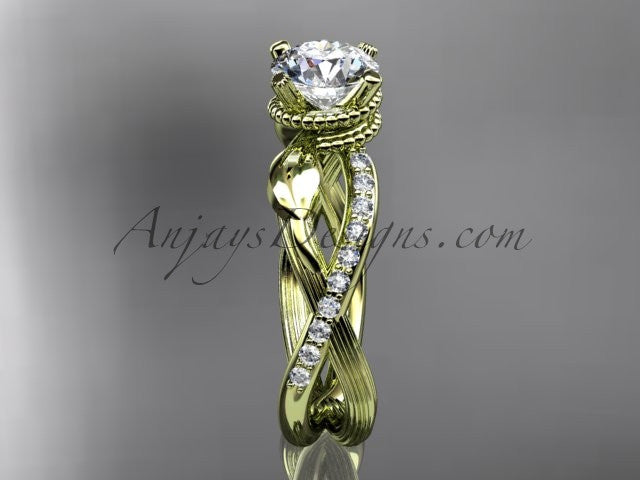 14kt yellow gold diamond leaf and vine wedding ring, engagement ring ADLR70 - AnjaysDesigns
