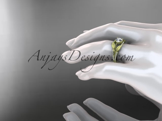 14kt yellow gold diamond leaf and vine wedding ring, engagement ring ADLR75 - AnjaysDesigns