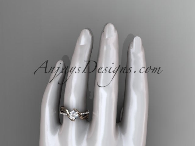 14kt rose gold diamond leaf and vine wedding ring, engagement ring ADLR78 - AnjaysDesigns