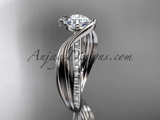 platinum diamond leaf and vine wedding ring, engagement ring ADLR78 - AnjaysDesigns