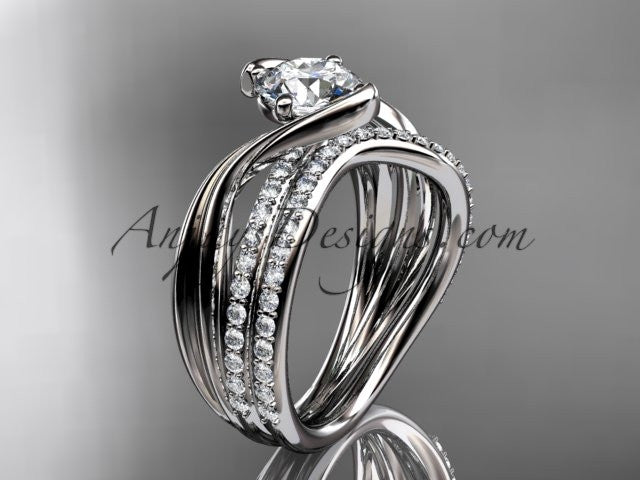 14kt white gold diamond leaf and vine wedding ring, engagement set ADLR78S - AnjaysDesigns