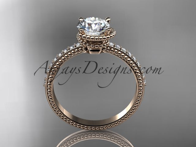 14kt rose gold diamond unique engagement ring, wedding ring ADER86 - AnjaysDesigns
