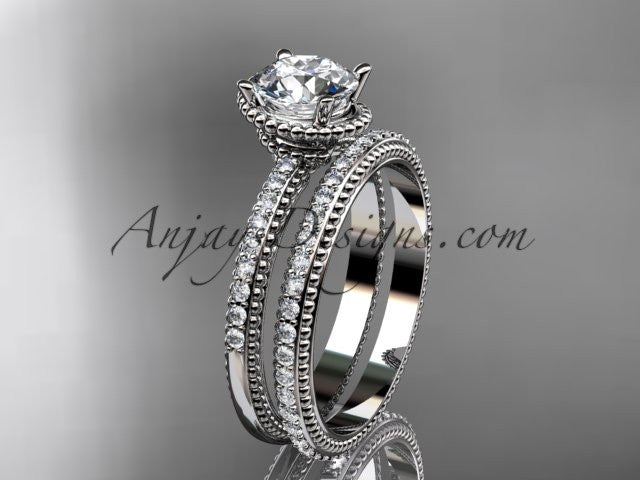 14kt white gold diamond unique engagement set, wedding ring ADER86S - AnjaysDesigns