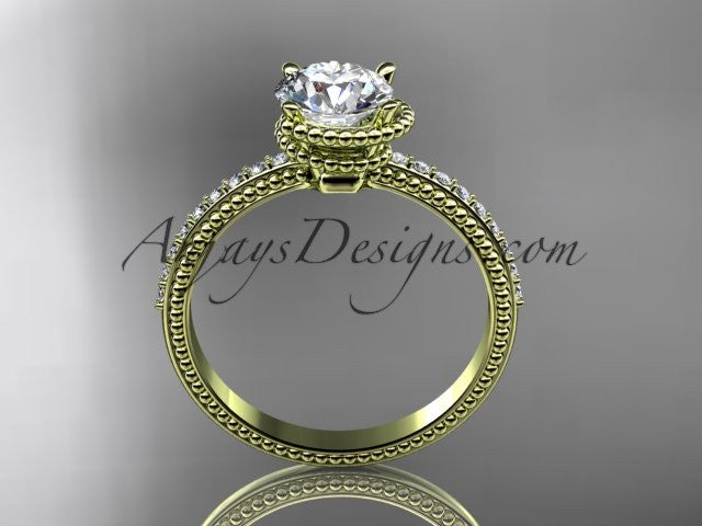 14kt yellow gold diamond unique engagement ring, wedding ring ADER86 - AnjaysDesigns