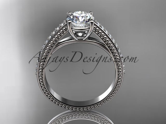 14kt white gold diamond unique engagement ring, wedding ring ADER87 - AnjaysDesigns