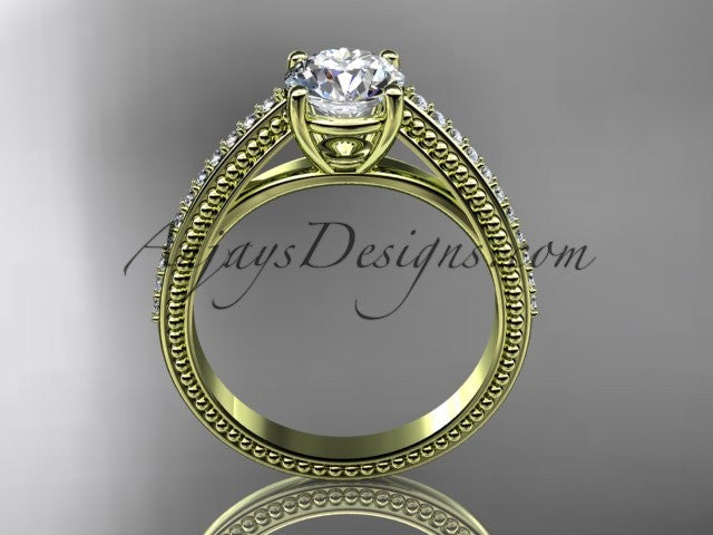 14kt yellow gold diamond unique engagement ring, wedding ring ADER87 - AnjaysDesigns