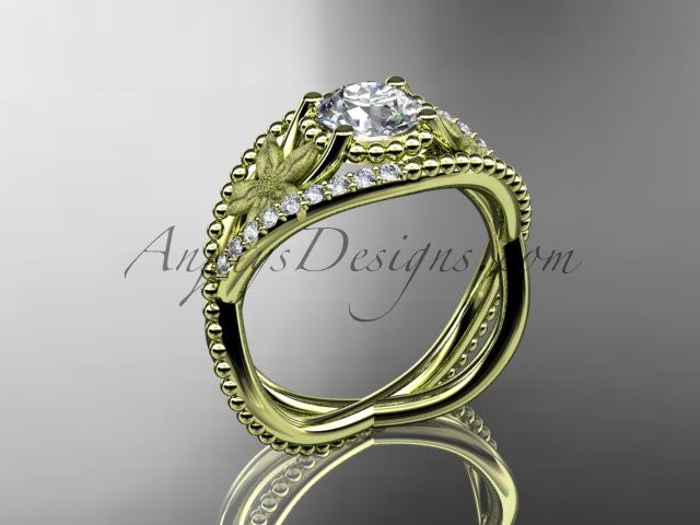 14kt yellow gold diamond floral wedding ring, engagement ring ADLR88 - AnjaysDesigns