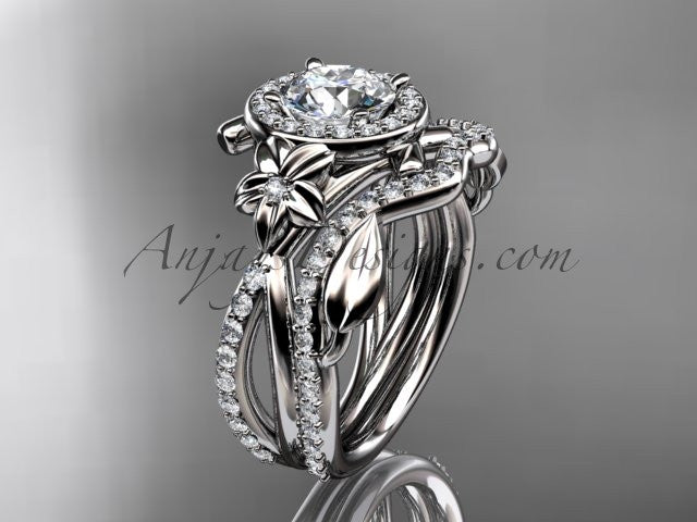14kt white gold diamond leaf and vine, flower engagement set, wedding set, ADLR89S - AnjaysDesigns