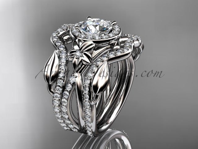 14kt white gold diamond leaf and vine, flower engagement ring, wedding ring,  with double matching band  ADLR89S - AnjaysDesigns