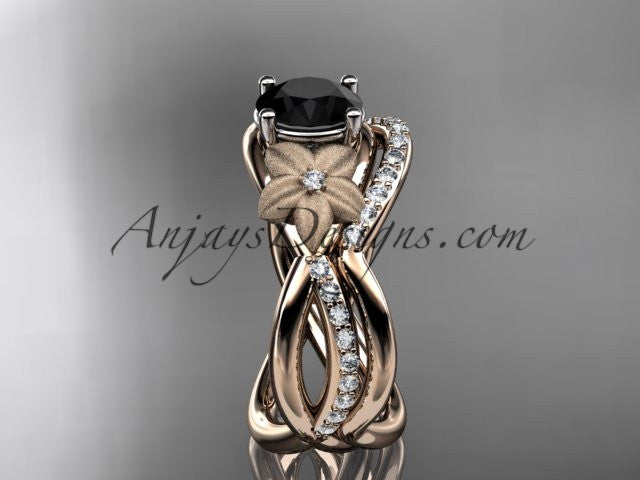 14k rose gold diamond leaf and vine wedding ring, engagement set with a Black Diamond center stone ADLR90S - AnjaysDesigns, Black Diamond Engagement Sets - Jewelry, Anjays Designs - AnjaysDesigns, AnjaysDesigns - AnjaysDesigns.co,